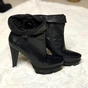 Nine West Iverges Leather Platform Ankle Boots